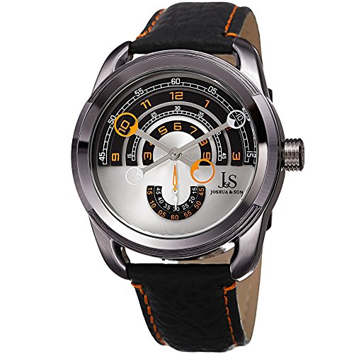 Joshua & Sons Men's Quartz Stainless Steel and Leather Casual Watch, Color:Black (Model: JX129OR)