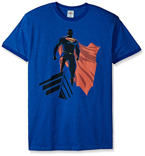 Mens Heather Ringer T-shirt (Trevco Herren Superman Man of Steel The Watcher Ringer T-Shirt, Heather/Royal, Klein)