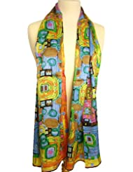Nella-Mode SEIDENSCHAL Seidentuch Kunstdruck inspiriert von Klimt: Schal aus 100% Seide; 160x43 cm