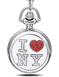 """Infinite U """"J'aime New York"""" Petit Email Montre de Poche Quartz avec Miroir Argent"""