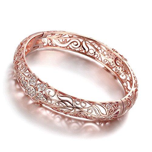 18K Rose vergoldet Blume Muster Armreif Armbänder mit Australien Kristall (Teen Formelle Kleidung)