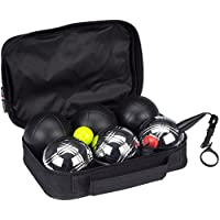 GetGo Jeu de Boules de Lujo Boule Set, Black/Chrome, One Size