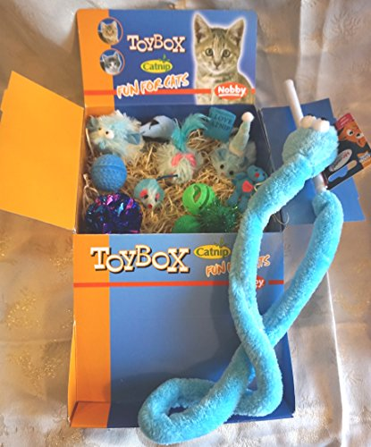LUXURY CAT CHRISTMAS GIFT BOX IN BOYISH BLUES & GREENS 13 CATNIP CAT TOYS