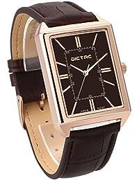 Dictac Reloj Hombre Cuadrado Pulsera Genuina de Cuero (oro rosado)