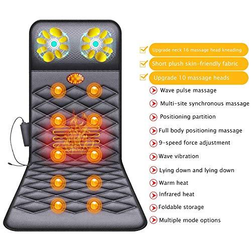 YLYHK Elektrische Voll Körpermassager-, Massage-Matte mit Wärme 10 Vibrationsmotoren Massage-Matratze Pad für Back Pain Relief