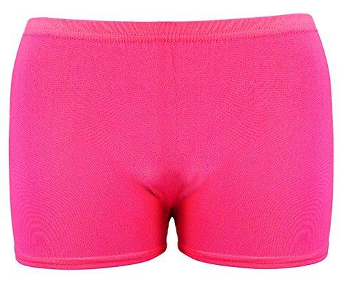Women Girls Neon Plain Hot Pants Stretchy Club Lycra Shorts Dance Club Party Gym