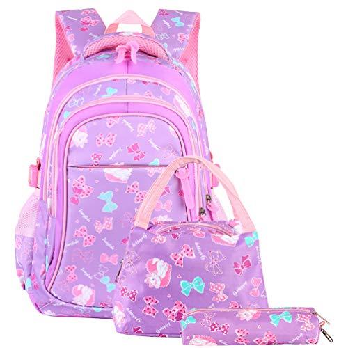 Vbiger Schulranzen Mädchen Schulrucksack Schultasche Rucksack Kinder Daypack 3 Teile Set für Schule und Freizeit Lila (Lila Schulranzen)