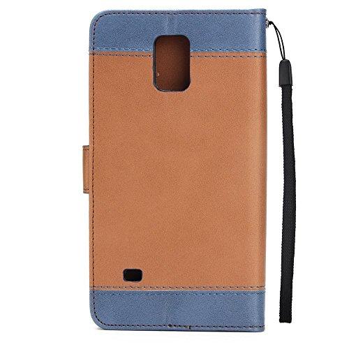 Dual Color Matching Premium PU Leder Flip Stand Case Cover mit Karte Cash Slots und Lanyard für Samsung Galaxy HINWEIS 4 ( Color : Brown ) Brown