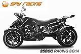 Spy 250cc Racing Quad14' 2 Pers. Autobahn Zulassung 4-Gang Manuell + Rückwärtsgang Quad Atv Racing (Metallic Glänzend Schwarz)