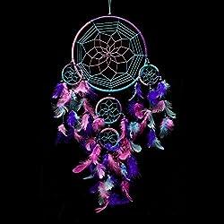 Atrapasueños Caught Dreams, hecho a mano, tradicional, color azul agua, rosa y morado, 21,6 cm de diámetro y 61cm de largo.