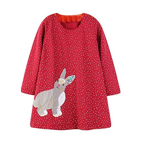 Baby Mädchen Prinzessin Kleider, Kleinkind Kinder Cartoon Kaninchen Langarm Dot Kleid Baumwollkleidung Kleid (2M-6T) Ostern (Rot,2T)