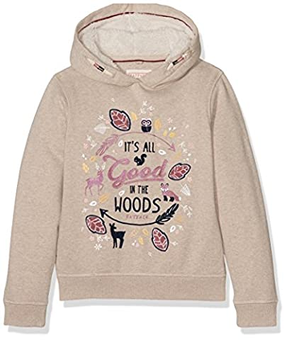 Fat Face Girl's Popover Marl Hoodie, Beige (Oatmeal), 4-5 Years