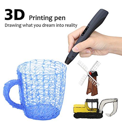 CRITIRON 3D Stift Set 3D Druckstifte Mit Stifthalter 3 Filaments Aufbewahrungskoffer Tragbare Tasche 3D Printing Pen Drawing Schwarz Für Kinder Gute Geschenke - 2