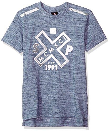 Southpole Boys' Big Short Sleeve Slub Tee with Tech Detail (Age 8-20), Marled Blue(Crewneck), Small -