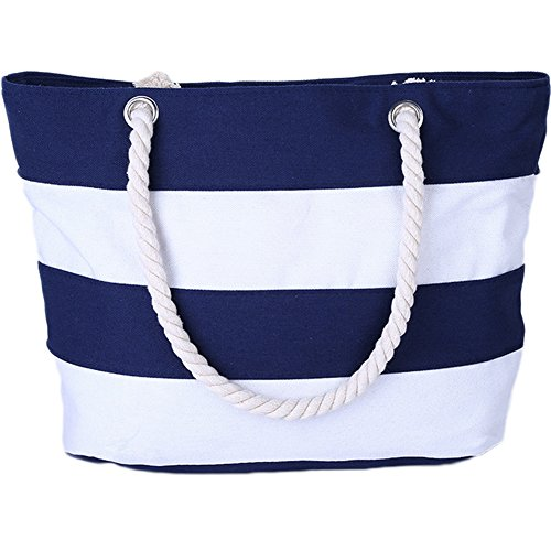 Strand Tasche Tote Handtasche (LAAT Streifen einzelne Schulter Beutel Segeltuch Handtaschen beiläufige Strand Tote Einkaufs tasche Frauen Mädchen 45 * 36 cm (blaue und weiße))