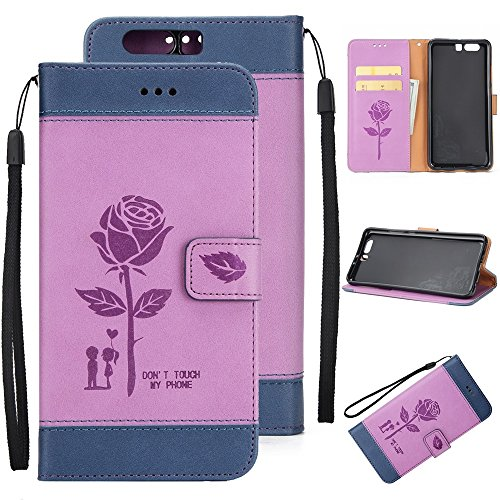 EKINHUI Case Cover Dual Color Matching Premium PU Leder Flip Stand Case Cover mit Card Cash Slots und Lanyard für Huawei P10 ( Color : Brown ) Purple