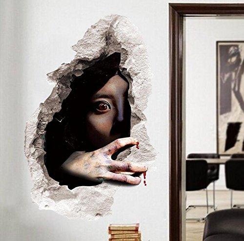 (Zooarts Halloween Scary Ghost Wand Aufkleber Abnehmbar Wand Aufkleber Vinyl Aufkleber Art Decor Zimmer Wandbild)