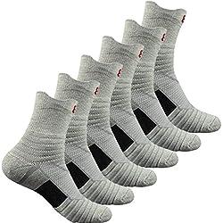 Pelisy compresión calcetines hombres verano deportivos transpirables antideslizantes 6 pares para ciclismo running gris