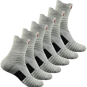 Pelisy Herren Sneaker Socken 6 Paare Baumwolle Atmungsaktive Anti Rutsch Quarter Sportsocken 39-42 für Running & Basketball