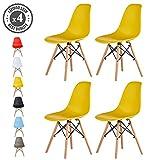 Mcc Set of 4 Modern Desig Dining Chair Retro Lounge Chairs, LIA (Yellow)