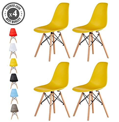 Set of 4 Modern Design Dining Chairs Eiffel Retro Lounge Chairs, LIA by MCC (yellow)