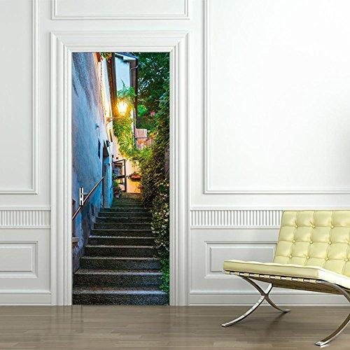 PLZY San Marino Straßen-Tür-Aufkleber 3D Hauptdekor-wasserdichtes selbstklebendes entfernbares DIY 200 * 77cm -