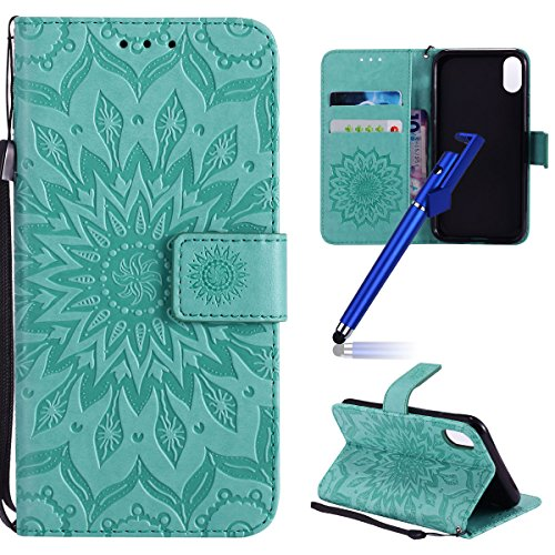 "Coque pour iphone X Portefeuille, Housse en cuir de Mode iphone X 5.8"", iphone 10 Folio Flip Cover Case, MoreChioce Luxe de Étui en cuir PU Fille et Chat En relief et Fonction Miroir, Caoutchouc soupl Tournesol-Vert"