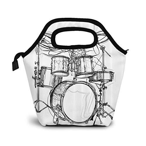 NiWCGP Graffiti Sketch Style Schlagzeuger Musik inspiriert Monochrom Isolierte Lunch Tasche Tote für Frauen Kids Erwachsene Lunchbox Cooler mit Reißverschluss,Jungen, Mädchen, Herren -