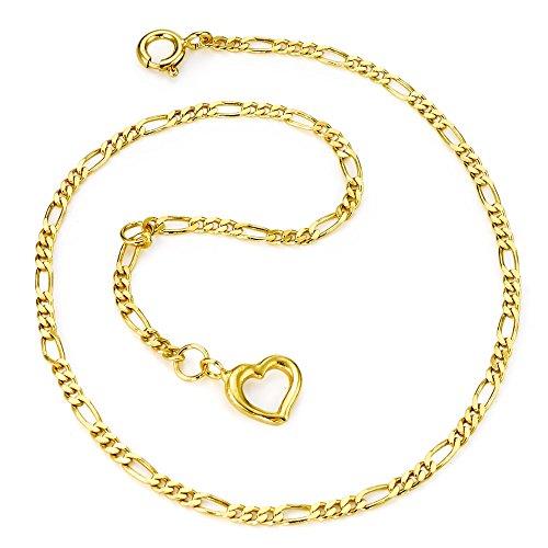 Rhomberg Fusskettchen AM-Doublé vergoldet Herz 24-26 cm verstellbar, Beschichtung: vergoldet, Länge (cm): 24 cm, Länge verstellbar bis: 26 cm, Motiv: Herz, Verschluss: Federring