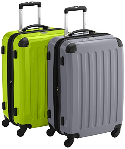HAUPTSTADTKOFFER - Alex - 2er Koffer-Set Hartschale glänzend, 65 cm, 74 Liter, Apfelgrün-Silber