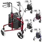 Ultra Lightweight 3 Wheeled rollator /Tri Walker with brakes and Shopping Bag - choice of colours (Red)