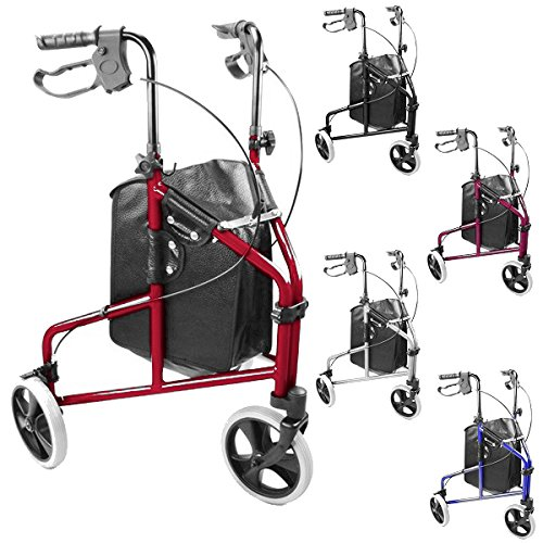 ultra-lightweight-3-wheeled-rollator-tri-walker-with-brakes-and-shopping-bag-choice-of-colours-silve