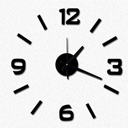 QHGstore Vier Farben DIY Numbers Wanduhr Acryl Spiegel Wandsticker Uhren Home Decor Clock schwarz