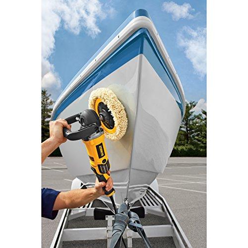 DeWalt 150 mm und 180 mm Polierer/Poliergerät (variable Geschwindigkeitseinstellung, leiser und vibrationsarmer Lauf, inkl. Gummischleifteller, Seitenzusatzhandgriff, zwei Polierhauben, Bügelhandgriff), DWP849X