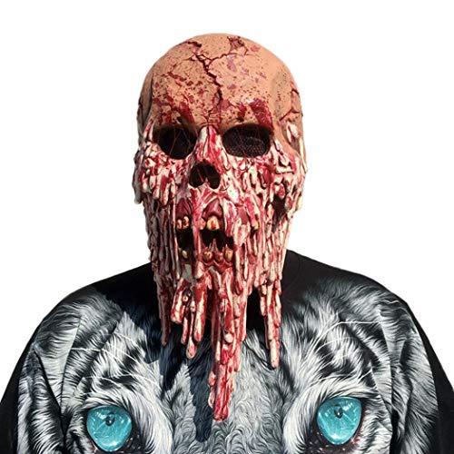 Huhu833 Halloween Maske, Blutige Zombie Maske schmelzendes Gesicht Erwachsenen Latex Kostüm Walking Dead Halloween Scary (Walking Kostüm The Dead)