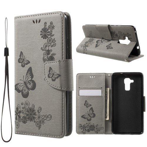 jbTec® Flip Case Handy-Hülle zu Huawei GT3 / Honor 5c - Book Muster Schmetterlinge S19 - Handy-Tasche Schutz-Hülle Cover Handyhülle Ständer Bookstyle Booklet, Farbe:Grau