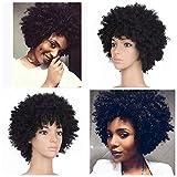 Rosennie Afro lockiges Haar Perücken Kinky Curly Lace Front Perücken Synthetic mit Baby Haar Damen Kurz Afro lockig Echthaar Perücke Curl Perücke für Frauen Afro American Perücken (Schwarz)