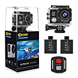 EECOO Action Cam 4K Wasserdicht Aktion Kamera - 16MP Ultra Full HD WiFi Helmkamera Unterwasserkamera mit Doppelschirm, 2.4G Fernbedienung, 2 Wiederaufladbare Akkus USB-Ladegerät und Zubehör-Sets