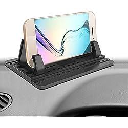 ipow Support Voiture en Silicone Universel avec Tapis Anti-dérapant de Silicone Collant Fixation sur Tableau de Bord Compatible avec iPhone X/8/7 Plus,Nokia,Huawei,Xiaomi,Sony et d'autres Appareils