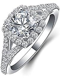 JewelryPalace Mujeres 1.4ct CZ anillo de compromiso Boda banda de plata de ley 925
