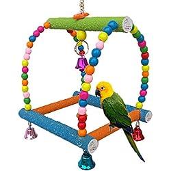 Columpio de pájaros Juguete para el Parrot Macaw africana Greys Budgies cacatúa periquito cacatúas Conure Pájaros Jaulas de Pájaros Perca Toy Paw Molienda Escalera