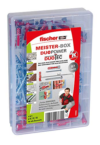 Preisvergleich Produktbild fischer MEISTER-BOX DUOPOWER / DUOTEC,  Werkzeugkiste mit 87 Dübeln und Schrauben,  Universaldübel,  Hohlwanddübel,  praktisches Set,  Dübelkiste für Heimwerker & Profis