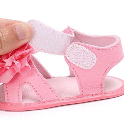 Babyschuhe Longra Kleinkind Mädchen Krippe Schuhe Neugeborenen Blume Soft Sohle Anti-Slip Baby Sneakers Sandalen (0-18Monate) Hot Pink