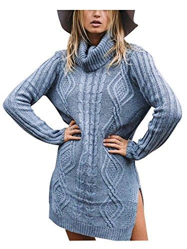 Simplee Apparel Damen Lang Sweater Winter Elegant Langarm Rollkragen Kabel Split Strick Pullover Kleid Jumper Blau