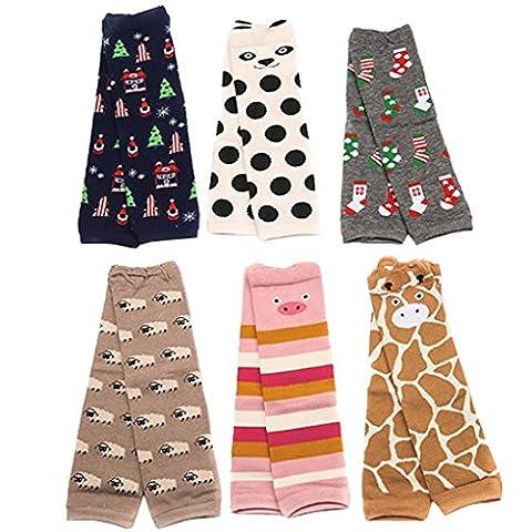 Happy Cherry – Lot de 6 paires de Genouillère Chaussettes à rayure Jambière à motif mignonne pour bébé 1-3 ans 30 maximum - couleurs aléatoires