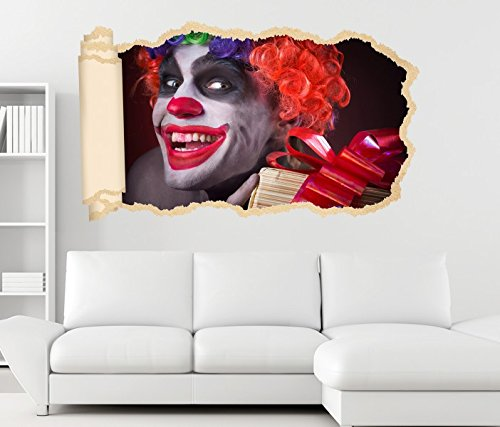 3D Wandtattoo Horror Clown Maske gruselig Gesicht Tapete Wand Aufkleber Wanddurchbruch Deko Wandbild Wandsticker 11N2054, Wandbild Größe F:ca. 97cmx57cm (Clown Gesichter Gruselig)