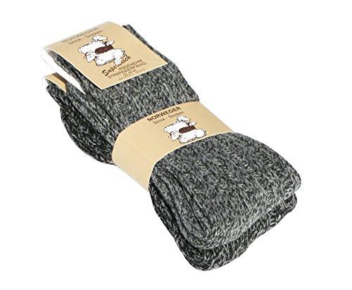 Lot de 2 paires de chaussettes norvégiennes (Chaussettes de laine), tricoter des chaussettes. Pour les hommes et les femmes - taille 43-46 - noir et grise