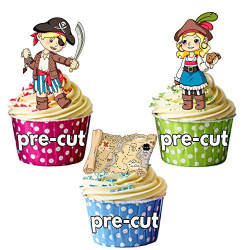 vorgeschnittenen Piraten & Schatzkarte Mix-Essbare Cupcake Topper/Kuchen Dekorationen (Piraten Dekorationen Ideen)