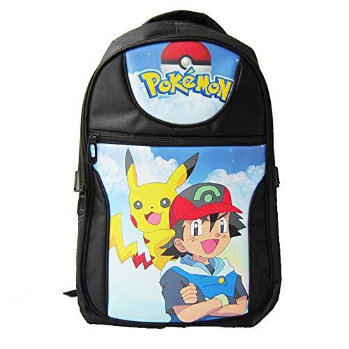 Wadaland Pokemon Rucksack Junge,Pikachu Cartoon Muster Rucksack Mädchen,Karikatur Drucken Mittelschule Studenten Schultasche Daypacks Tasche Rucksäcke Backpack Sale