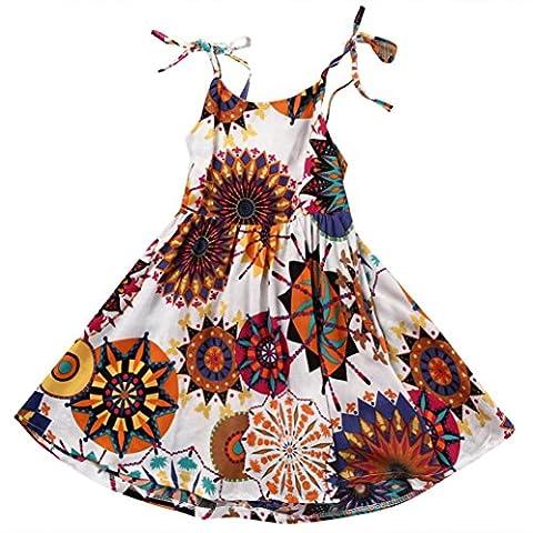 Sakure Floral pour tout-petits bébé enfants filles Fleur de Coton Bohème Longueur au genou Princesse Slip Robe Sundress Vêtements